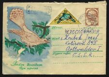 MONGOLIA 1963 Uprated Postal Stationery Cover to CSSR, Birds, Space