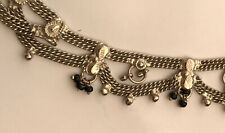 With Black Beads Silver Ornate Anklet