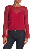 WAYF 157548 Women's Swiss-Dot Bodysuit Sheer Long Sleeve Deep Red Sz. XS