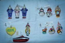 Christopher Radko Christmas Ornaments LOT OF 12 SANTA FROSTY DUCK BOAT HEART