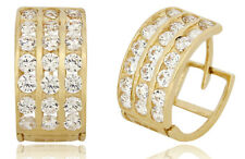 Men's 14k SOLID Yellow Gold Iced Out Hip Hop 3 Row Simulated Diamond Hoops