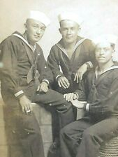 Vintage WWII Photograph Postcard of 3 Navy Sailors Sexy Trio Smoking Hands On