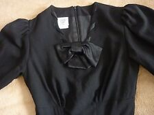Vintage LAURA ASHLEY Dress Wool Black Made in Great Britain US 8 UK 10 EUC