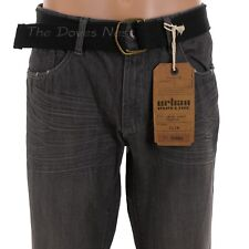 URBAN PIPELINE Young Men's 36 x 32 Slim Fit GRAY JEANS Straight Leg BLACK BELT
