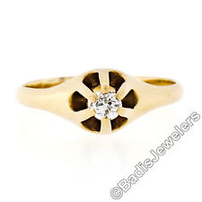 Antique Victorian 14K Gold Old European Diamond Belcher Solitaire Promise Ring