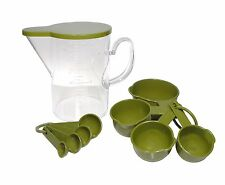 QG 10 Piece Acrylic Plastic BPA Free Measuring Cup & Spoons Set, Green