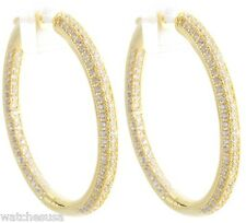Round Hoop Women's Silver Earrings 18k Yellow Gold Plated Cubic Zirconia