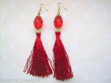 *RED TASSLE GEM BEAD* Long Drop Earrings Gold Plated BURLESQUE Scarlet Vampire