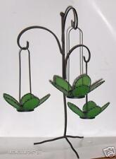 3 Tealight Holder w/black stand - Green Flowers