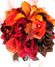 Wedding Bouquet Bridal Silk flowers FALL BROWN ORANGE LILY 17 piece Package