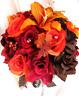 Wedding Bouquet Bridal Silk flowers FALL BROWN ORANGE LILY 17 piece Package