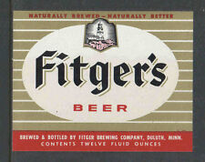 1970s FITGERS BEER BOTTLE LABEL DULUTH MINN - RED STRIPE AT BOTTOM - UNUSED