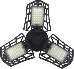 80W Garage Shop Basement Warehouse Ceiling Light w/ 3 Adjustable LED Panels E26