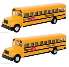 Set of 2 Yellow School Bus Diecast Model pull back action openable doors 7 inch
