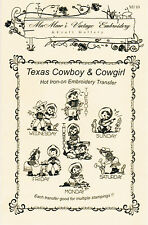 Texas Cowboy & Cowgirl Tea Towels Hot Iron Transfers MaMaw's Vintage Embroidery