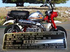 Honda Z50J Monkey Mini Bike Australia Compliance Plate ENGRAVED - FREE SHIPPING