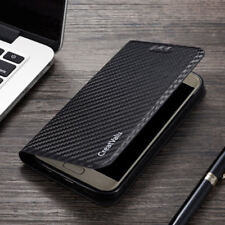 Magnetic Carbon Leather Flip Wallet Phone Case Cover For Samsung S9 J6 S10 Plus