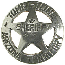 Tombstone Arizona Territory Sheriff Badge,OLD WEST,STAR ,SILVER,WESTERN,VINTAGE,