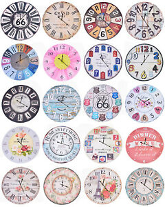 Large 58cm Round Wooden Wall Clocks Vintage Style Distressed Home Decoration