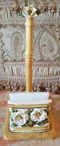 Magnolia Paper Towel Holder With Ceramic Napkin Holder
