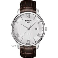 Tissot Tradition Brown Leather Stainless Steel Mens Swiss  Watch T0636101603800