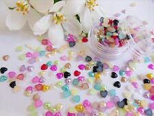 3D Nail Art '4mm Pearl Hearts Pot' Mixed Gems Flat Back app 175 pcs Nail Craft