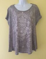 Style & Co Womens Size XL Cap Sleeved Gray White Print T- Shirt Top Shirt
