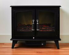 ELECTRIC BLACK STOVE MODERN LARGE 2KW CAST FREESTANDING LOG FIRE FIREPLACE SUITE