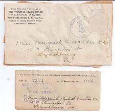 1935 Virginia State Board of Examiners of Nurses Craigsville Ethel Smith Hankla
