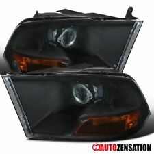 For Dodge Ram 2009-2018 1500 2010-2017 2500 3500 Black Projector Headlights Pair