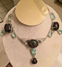 New Jumbo 139ct Ethiopian Black welo Opal, Aquamarine, Diamond 14k gold Necklace