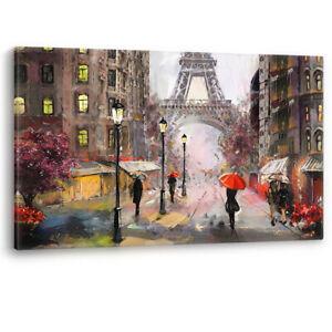 Paris Oil Painting effect black & white Large Canvas Wall Art Picture Print