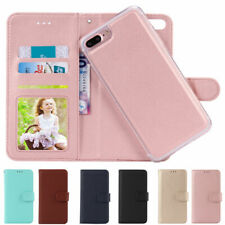 For iPhone 8/7/6 Plus XS Flip Leather Magnetic Back Removable Wallet Case Cover