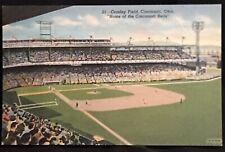 Cincinnati Ohio Oh Crosley Baseball Field Cincinnati Reds Linen Postcard