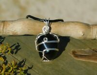 Apache Tear Obsidian Volcanic Glass Silver Pendant & Necklace to Calm Emotions