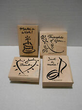 Stampin Up! NOTEABLE NOTES Set of 4 Rubber Stamps 1999 Birthday Thanks