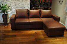 Echtleder Ecksofa 245x170cm Echt Leder Sofa Couch Bettfunktion & Ottomane