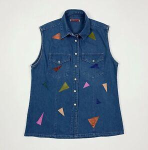 Blond label camicia jeans usato custom smanicato M camicetta donna denim T2725