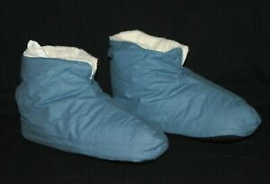 The Company Store Denim Blue Cozy Polyester Fleece Lined Slippers Large 10.5-11