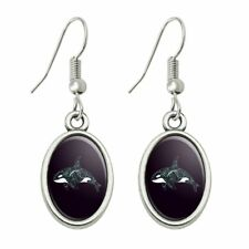 Killer Whale Orca with Waves Novelty Dangling Drop Oval Charm Earrings