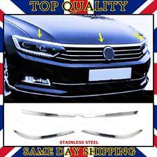 Chrome Head Lamp Light Upper Trim S.STEEL Fit VW Passat B8 Saloon-Estate 2014-up