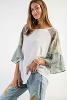 Easel Tropical Floral Print Bell Sleeve Knit Top