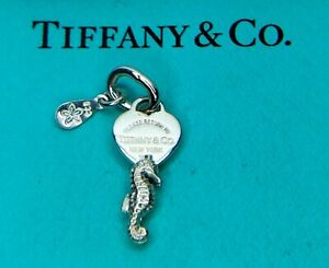 Tiffany Co Sterling Silver Mini Heart Tag Berry Marlow Seahorse Charm