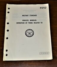 Vtg 1963 Mil-Std-1273 Military Standard Wheeled Vehicles Terms