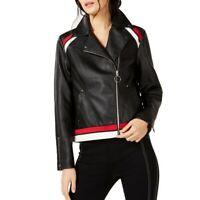INC NEW Women's Stripe Detail Faux Leather Motorcycle Jacket Top TEDO