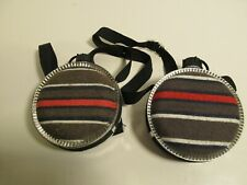 Pair Desert Water Canteens Plastic Metal Fabric Covered w/Straps