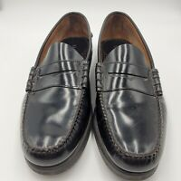 LL Bean Men's Black Penny Loafers Leather Dress Shoes Size 12 D