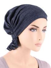 Abbey Cap ® Chemo Hat Cancer Beanie Scarf Cotton Dark Denim