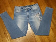 Miss Me Ankle Skinny Jeans Size 30 Low Rise Light Wash Embroidered M2105FA NWT