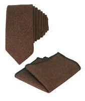 Mens Boys Kids Wedding Herringbone Tweed Cinnamon Brown Slim Tie & Pocket Square